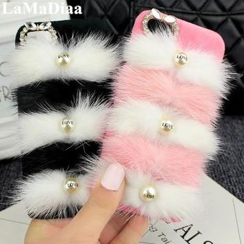 LaMaDiaa Mobile Phone Cases For IPhone X 6S 6Plus 7 8Plus Bling Case Love Pearl Shiny Sparkling Bow Luxury Soft Rabbit Fur Hair