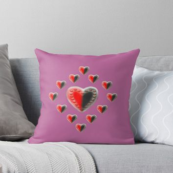 'Yin Yang butterfly hearts pink' Throw Pillow by Zina Stromberg