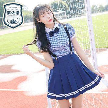 Brand LEHNO New Blue Girls Japanese School Uniforms Paid Fashion Students Clothes Cotton Summer Blouse+Strap Skirt+Tie 3pcs Set