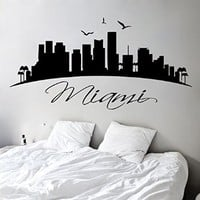 Wall Decals Vinyl Decal Sticker Miami USA Landscape City Skyline World City Beauty Salon Home Interior Design Wall Art Murals Bedroom Living Room Dorm Decor