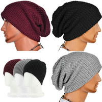 Chic Men Women Knit Winter Knit Ski Beanie Slouchy Oversize Cap Hat Unisex = 1958441668