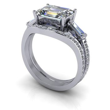 Bridal Set Three Stone Emerald Cut Engagement Ring SUPERNOVA Colorless Moissanite 3.30 CTW