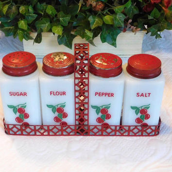 Vintage Milk Glass McKee by Tipp USA Salt Pepper Flour Sugar Shakers Spice Jars and Red Metal Tray Cherry Design