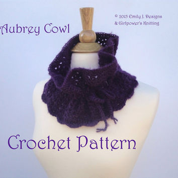 Easy Crochet Pattern, Aubrey Cowl, Neck Warmer, Neck Gaiter, Worsted Yarn & G Hook, Drawstring Scarf