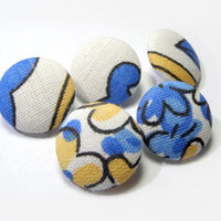 White blue yellow floral buttons, Fabric Covered Buttons, cloth buttons, small buttons, children buttons, plastic shank girl buttons