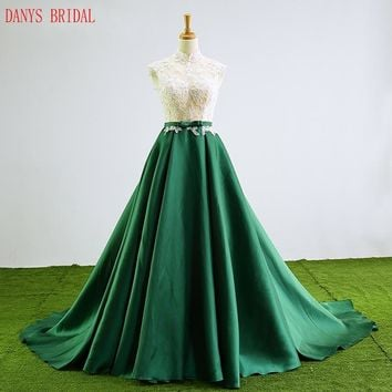 Green Lace Prom Dresses Long Beaded High Neck Prom Evening Party Dresses for Graduation Gowns vestidos de formatura
