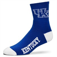 For Bare Feet Kentucky Wildcats Team Color 1/4-Crew Socks - Adult, Size: