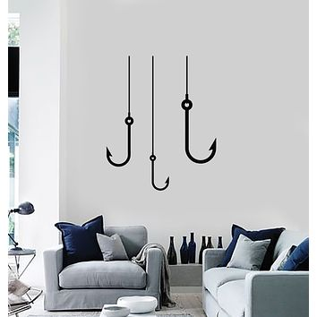 Vinyl Wall Decal Caught Fish Fishing Hobby For Fisher Stickers Mural (g708)