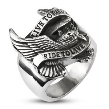 Open Road Live to Ride – Silver Eagle Carved Live To Ride To Live Biker Slogan Stainless Steel Band