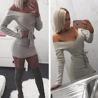 New Long Sleeve Off Shoulder Mini Dress For Womens Gray Gift