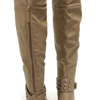 Herley 11 Beige Studded Over the Knee Boots