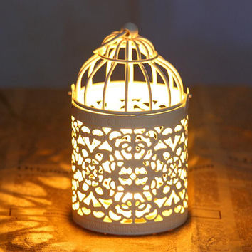 White Retro Metal Candle Holder Candle Lamp Light Box Hanging Home Decor TY205