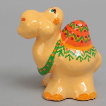 Statuette of camel small plaster painted yellow beautiful handmade figurine