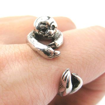 Realistic Sloth Shaped Animal Wrap Around Hug Ring in Shiny Silver | US Size 4 to 9