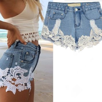 Lace shorts crochet hollow thin pants hot pants stitching jeans shorts