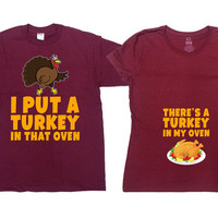 Thanksgiving Pregnancy Announcement Fall Pregnancy Reveal Couples Shirts Matching T Shirts Pregnancy Clothes Maternity Gifts - SA506-507