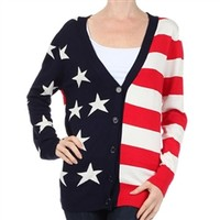 Loose fit button down cardigan with flag design | TheFlagShirt.com