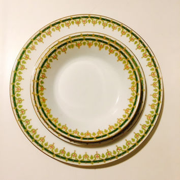 Haviland Limoges Plate Set, Vintage Set, Antique China, France, Green and Gold Gilt, Wedding Gift, Mad Hatter, Tea Party, Holiday Table