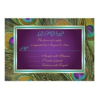 Peacock feathers purple, aqua, gold wedding RSVP Announcement from Zazzle.com