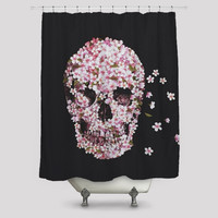 The Cherry Blossom Skulls Shower Curtain