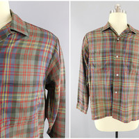 1960s Vintage / Sears Perma Prest / Madras Plaid / Casual Dress Shirt / Sears Roebuck and Co / Long Sleeve / Button Front / Size L / 42-44