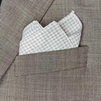 Gray And White Plaid Linen Blend Pocket Square