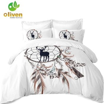 3Pcs Dream Catcher Bedding Set Boho Feather Print Duvet Cover Set Cartoon Deer Printed Bed Cover Pillowcase White Bedclothes A25