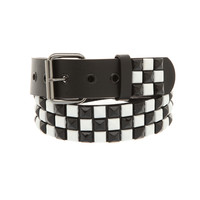 Black And White Checkered Pyramid Stud Belt | Hot Topic