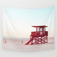 Red Lifeguard Tower - Wall Tapestry