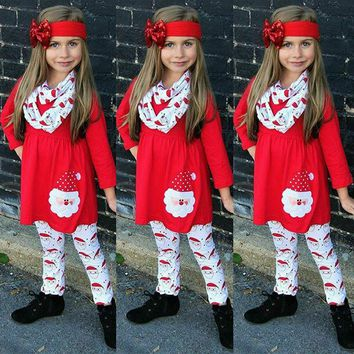 Canis Newborn Kid Baby Girls Christmas Halloween Tops Dress Pants Outfit Clothes