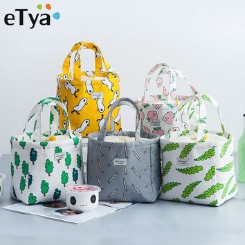 eTya Fresh Lunch Bags Women Portable Functional Canvas Travel Insulated Thermal Food Picnic Kids Cooler Lunch Box Bag Tote