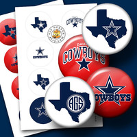 "Dallas Cowboys Sport Logos Ditigal Collage Sheet - 1.313"" circles Printable Digital Download for Buttons, Bottle Caps, Crafts CB-125"