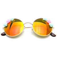 Flash Floral Retro John Lennon Inspired Sunglasses Round Hippie Shades Colored Lenses