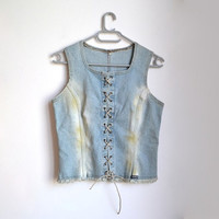 Denim Lace Up Corset Top Light Blue Jean Cotton Medium M