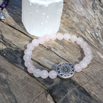 8mm Rose quartz bracelet, crystal, bracelet, boho style, bohemian, sun catcher, charm, gemstone, yoga, meditation, chakra
