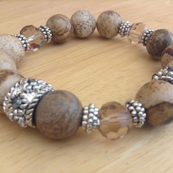 Picture Jasper Bracelet With Silver Spacers And Crystals Picture Jasper Stretch Bracelet