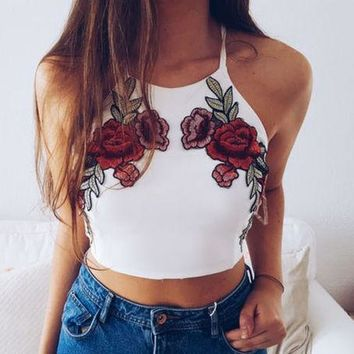 Classic Fashion Hipster Women's Fashion Rose Embroidered Top F