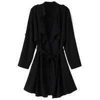 Draped Collar Chiffon Trench Coat