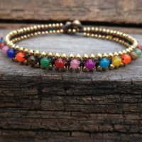 Colorful Round Woven Brass Anklet | marketjatujak - Jewelry on ArtFire