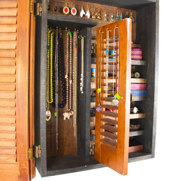 Wooden Wall Hanging Jewelry Storage and Organizer.... Handmade by TangleandFold
