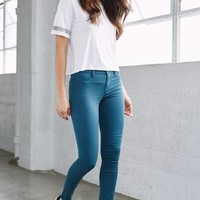 Bullhead Denim Co. Teal Dreamy Mid Rise Jeggings - Womens Jeans - Blue