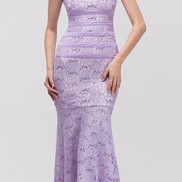 Two Tone Lilac Ivory Overlay Lace Dress Mermaid Wide Strap