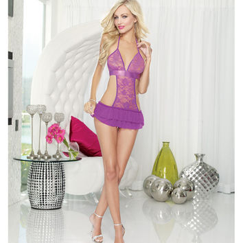 Stretch Lace Apron Babydoll W-satin Ribbon Tie & G-string Iris O-s