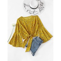 Fluted Sleeve Ditsy Print Knot Front Blouse