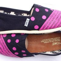 The Dottie  Fuscia and Black Custom TOMS by FruitfulFeet on Etsy