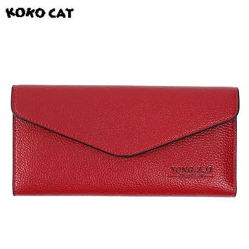 KOKOCAT Fashion PU Leather Women Wallets Long Thin Ladies Coin Purse Card Clutch Bag Female Soft Purse with Cell Phone Pocket
