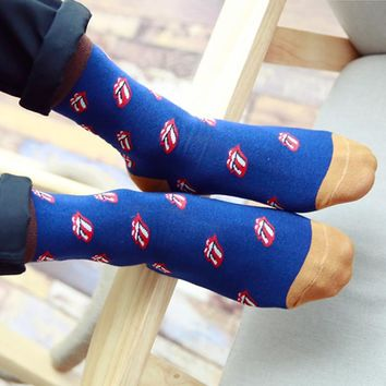 A Pair Men Socks Casual Character Cartoon Tongue Print Sock Cosy Breathable Fashion Male Socks