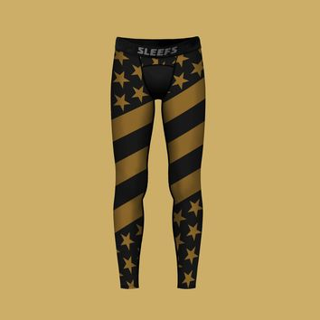 USA American Flag Black Gold Tights for Kids