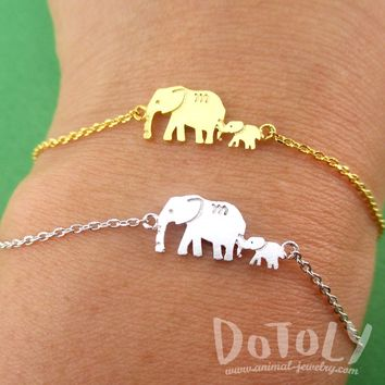 Elephant Family Mom and Baby Silhouette Shaped Charm Bracelet in Silver or Gold