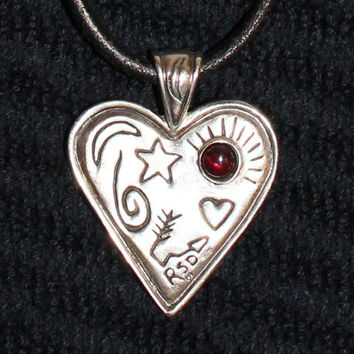 Vintage 1960's Sterling Silver Heart Pendant Necklace with Garnet Rhinestone